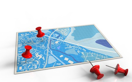 3d illustration of blue map with red pins