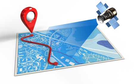 routing: 3d illustration of blue map with route and satellite