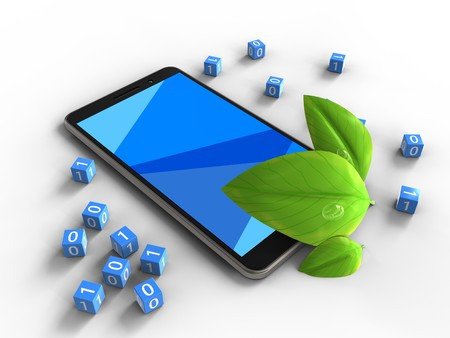 cyan business: 3d illustration of mobile phone over white background with binary cubes and leaf Stock Photo