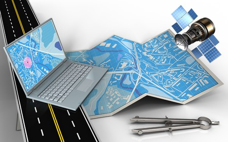 3d illustration of city map with computer and circle tool