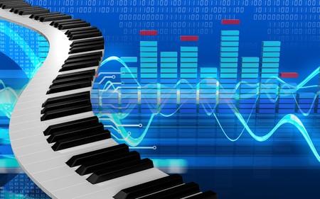 サイバーの背景の上のピアノの鍵盤の 3 d イラストレーション