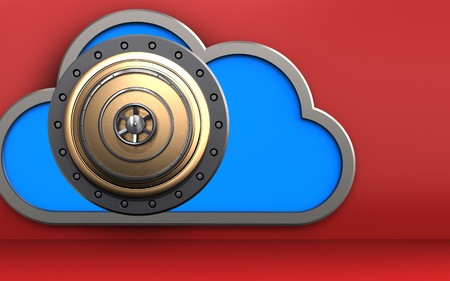 3d illustration of cloud with golden vault door over red background