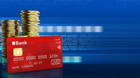html: 3d illustration of coins over digital background with bank card