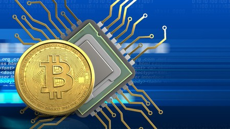 3d illustration of cpu over digital background with bitcoin
