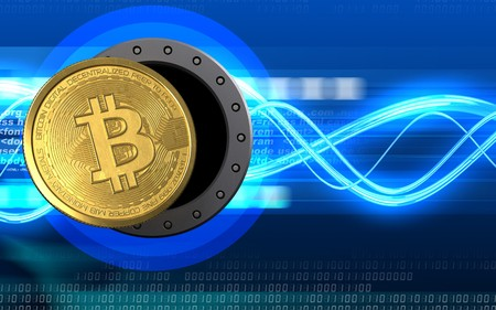 3d illustration of bitcoin storage over digital waves background Stock Photo