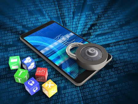 3d illustration of mobile phone over digital background with cubes and code lock