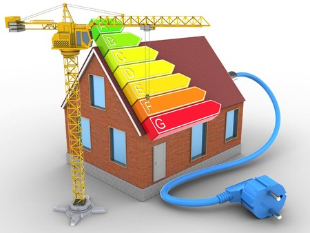 3d illustration of bricks house over white background with power ranks and crane Stock Photo