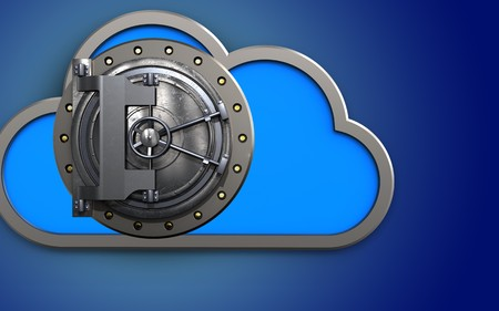 3d illustration of cloud with vault door over blue background Stock Photo