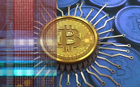 3d illustration of bitcoin over blue coins background with integrated chip Stock Photo