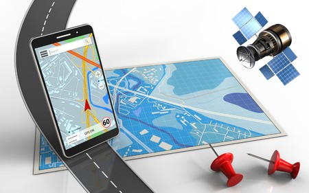 3d illustration of blue map with mobile phone navigation and red pins Stock Photo