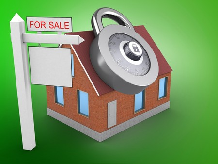3d illustration of bricks house over green background with code lock and sale sign