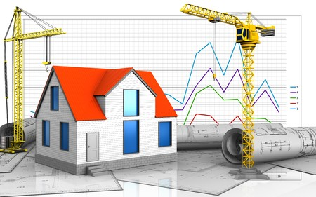 3d illustration of generic house with crane over business graph background