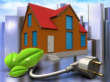 3d illustration of cottage with eco power cable over city background