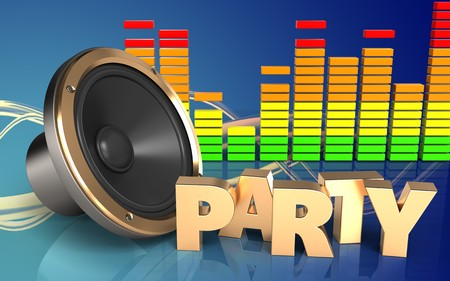 3d illustration of loud speaker over wave blue background with party sign