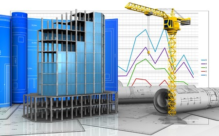 3d illustration of modern building frame with drawing roll over business graph background Stock Photo