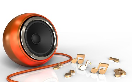 3d illustration of orange speaker over white background with notes Stock Photo