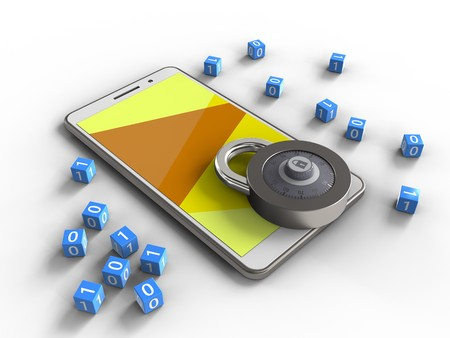 3d illustration of white phone over white background with binary cubes and code lock Stock Photo