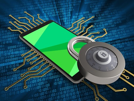 3d illustration of mobile phone over digital background with electronic circuit and lock