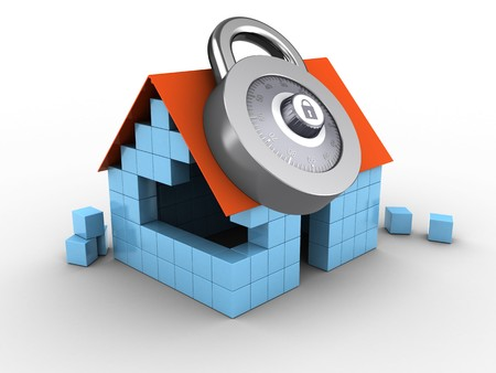 3d illustration of block house over white background with code lock