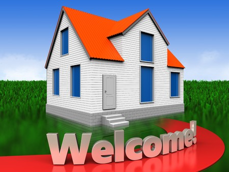 3d illustration of house with welcome sign over meadow background