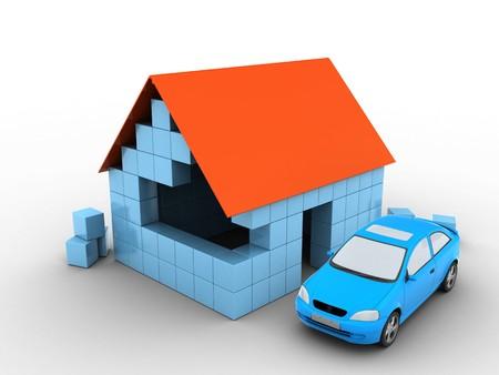 3d illustratie van blokhuis over witte achtergrond met auto