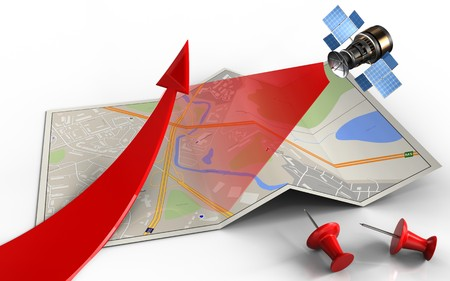 3d illustration of city map with red arrow and red pins Stock Photo