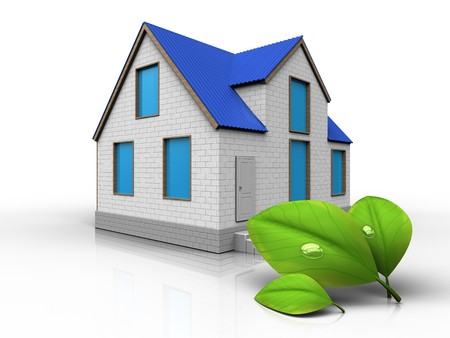 3d illustration of home with leafs over white background