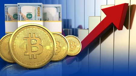 3d illustration of dollar banknotes over rising charts background with bitcoins row