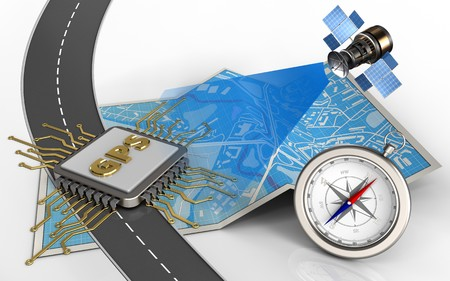 3d illustration of city map with gps chip and compass Stock Photo