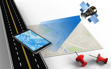 3d illustration of bright map with mobile phone and red pins