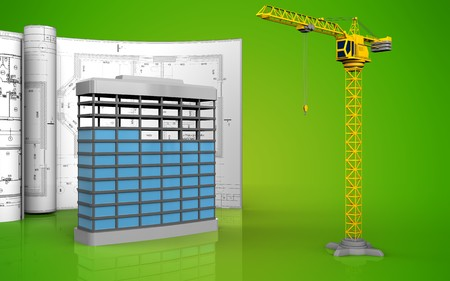 3d illustration of building construction with drawings over green background