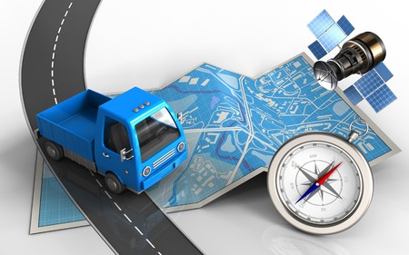 3d illustration of city map with truck and compass Stock Photo