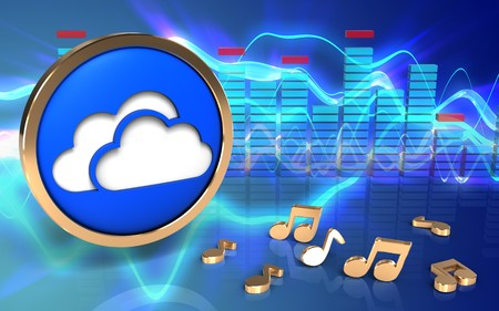 3d illustration of clouds symbol over sound waves blue background with notes Stock Photo
