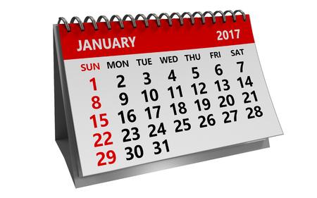 january 1st: 3d illustration of 2017 january calendar isolated over white background