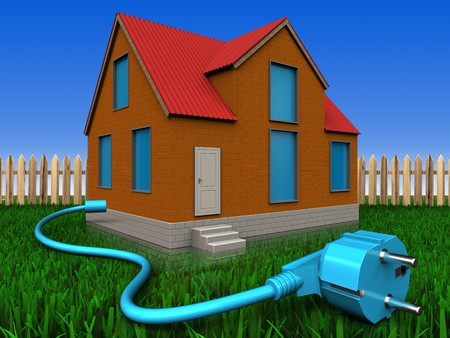 3d illustration of cottage with cable over lawn and fence background Stock Photo