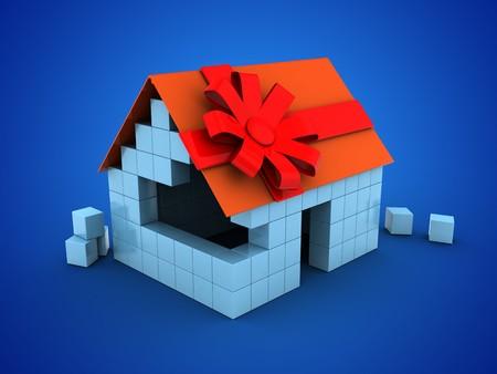 3d illustratie van blokhuis over blauwe achtergrond met giftlint