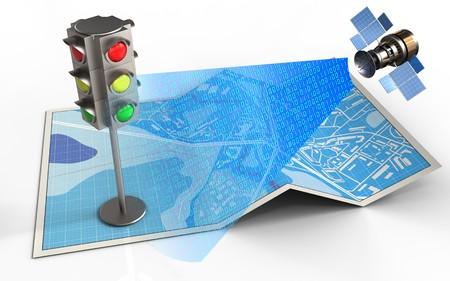 3d illustratie van stadskaart met verkeerslicht en satelliet digitaal signaal