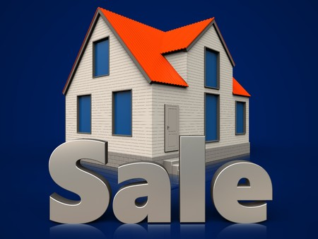 3d illustration of cottage house with sale sign over dark blue background