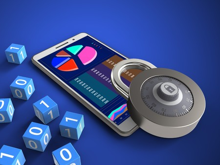 3d illustration of white phone over blue background with binary cubes and lock