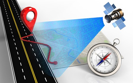 routing: 3d illustration of bright map with route and compass
