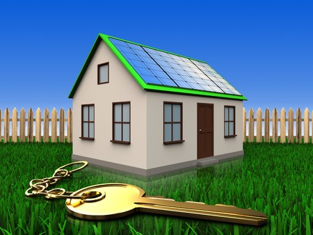 3d illustration of home with solar panel with golden key over lawn and fence background