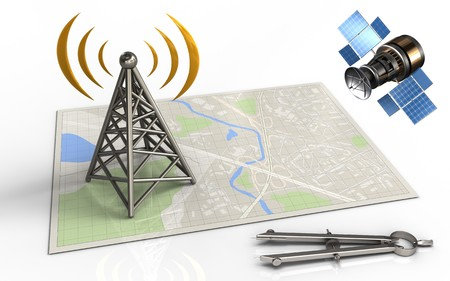 3d illustration of bright map with antenna and gps satellite