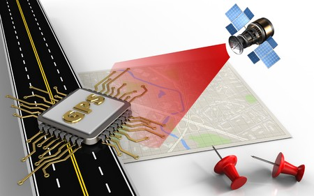 3d illustration of bright map with gps chip and red pins