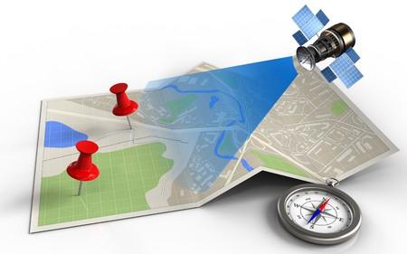 Illustration 3D de papier avec des épingles rouges et satellite