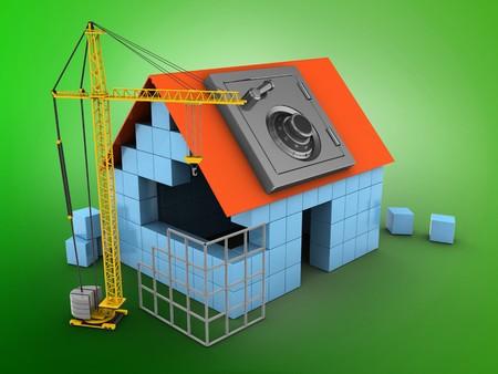 3d illustratie van blokhuis op groene achtergrond met veilige en bouwplaats Stockfoto