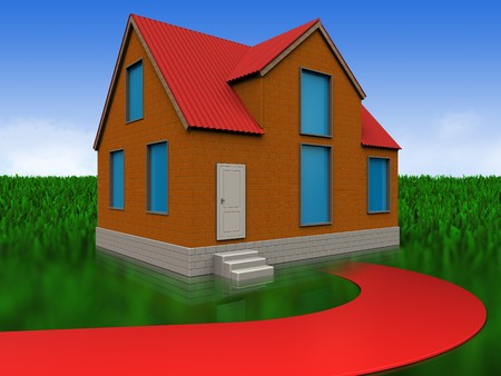 3d illustration of cottage with red road over meadow background Stock Photo