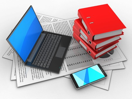 3d illustration of documents and black laptop over white background with binder folders