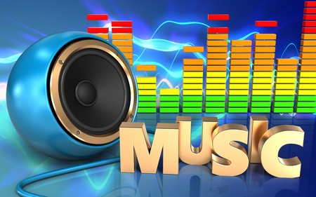 3d illustration of blue sound speaker over sound waves blue background with music sign Stock Photo