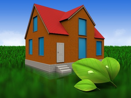 3d illustration of cottage with leafs over meadow background