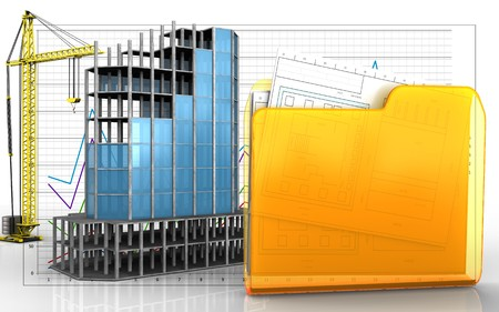 3d illustration of modern building frame with crane over business graph background